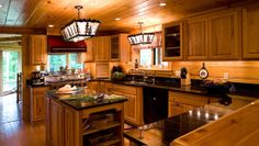 Kitchens with log cabin siding | builders paneling post and beam railings siding staircases other bldg ...