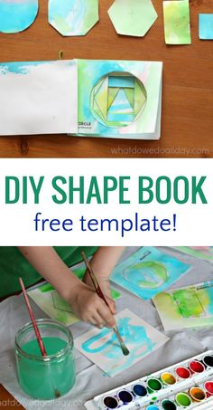 Explore math and learn geometry with a DIY shape book for kids. Learn about shapes in a hands on, fun and creative way! Math Activities For Kids, Math For Kids, Preschool Art, Preschool Learning, Preschool Shapes, Steam Activities, Preschool Printables, Kindergarten Worksheets, Writing Activities
