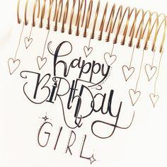 Geburtstag karte geburtstagskarte lettering brushlettering happy birthday girl