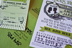 Beautiful for a theater wedding! Vintage and Vibrant Theater Wedding Invitations by nicrocdesigns, $5.95