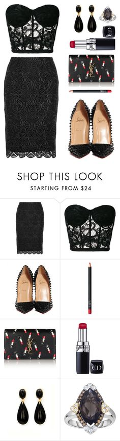 """Untitled #735"" by hallierosedale ❤ liked on Polyvore featuring Lela Rose, Moschino, Christian Louboutin, NARS Cosmetics, Yves Saint Laurent, Christian Dior and Phillip Gavriel"