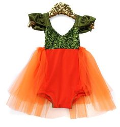 Gorgeous pumpkin tutu dress and costume. Your babe will be the cutestt pumpkin in the patch!