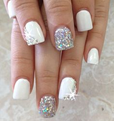White Glitter French Nail Designs for Women