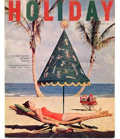 Beach holiday vintage mag cover. 1955.