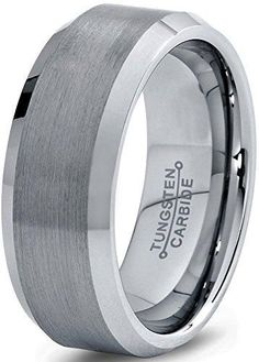 8mm Tungsten Wedding Band Ring for Men Women Comfort Fit Beveled Edge Brushed