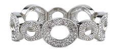 Rhinestone Open Circle Silver Bracelet.  Item #NB0332RDCR  Available at Impulse Gifts 812.481.2880 We ship daily.   https://www.facebook.com/ImpulseJasper