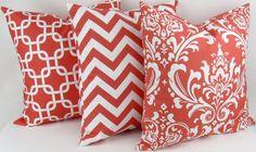 CORAL Pillow cover 24x24 you pick white Euro floor pink geometric damask zigzag chevron chain throw cushion sham Premier Prints FREESHIP