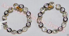 1.36c POLKI/ANTIQUE CUT DIAMOND 925 SILVER DANGLE/EARRING #BridalAntiqueJewels