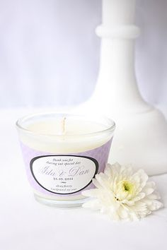 Personalised soy candle wedding favors