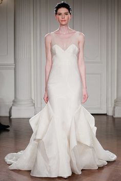 """ARPEGE - Low """"V""""-neck fitted mermaid gown in silk organza cut and fit with folds below the knee which move side"""