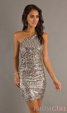 $60 Short Sequin One Shoulder Pink Dress at PromGirl.com