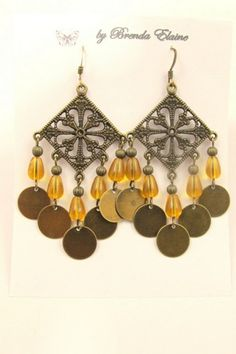 Boho Dangling Coins and Amber Beads in Antique Brass | byBrendaElaine - Jewelry on ArtFire