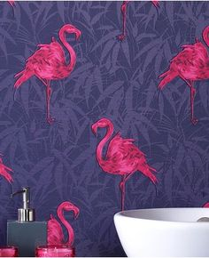 Love this purple and pink flamingo wallpaper! Graham and Brown flamingo wallpaper