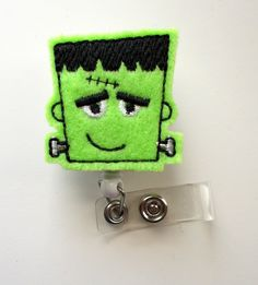 Frankie the Monster  Retractable ID Badge Reel  Name by JeJeweled, $6.00