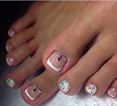 Pretty Pedicures, Pretty Toe Nails, Cute Toe Nails, Toe Nail Art, Cute Pedicure Designs, Toe Nail Designs, Feet Nails, Manicure E Pedicure, Luxury Nails
