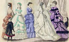 Victorian early bustle dresses