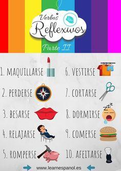 #LearnEspañol Verbos Reflexivos en Español. Learn Espanol, Spanish Conversation, Middle School Spanish, Spanish Games, Foreign Language, Learning, Spanish Classroom, Vocabulary, Languages