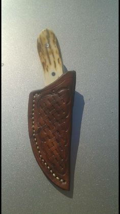 Custom tooled leather sheath for a Pops EDC by Arts Knife and Leather Works