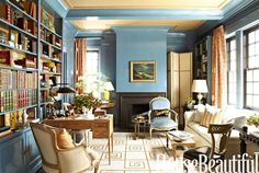 Beautiful color palette - The library in designer Garrow Kedigian's Manhattan apartment sheds fresh light on the classics he collects, both literary and decorative.