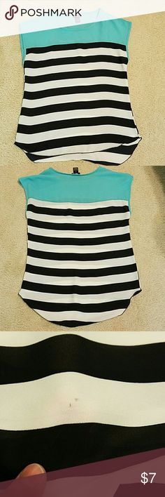Teal, black and white stripped shirt Very cute, a little flowy and slight high low. Could fit a small. Top is a pretty Teal color. Small pin hole in back near bottom. Worn about 3 times. Rue 21 Tops Blouses