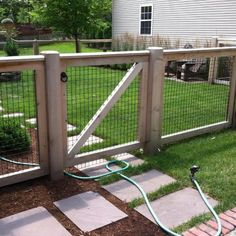 Delightful Wire Garden Fencing Ideas 8 Well Tips AND Tricks: Brick Fence Update wire fence wall. Hog Wire Fence, Brick Fence, Front Yard Fence, Farm Fence, Diy Fence, Bamboo Fence, Fence Landscaping, Metal Fence, Pool Fence