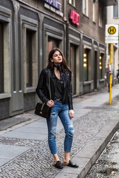 Leather jacket: asos Blouse: old, but what about this similar one? Jeans: old one but similar Slippers: Gucci or matching budget option Bag: Valentino or budget option Bandana: Saint Laurent or budget option Belt: B-Low the belt