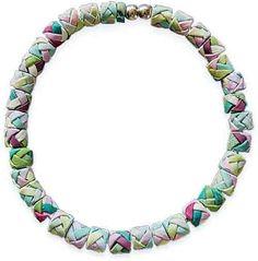 Eliska Koliosova weave extruded strips into beads on PolymerClayDaily.com