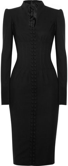L'Wren Scott Black Structured Wooltwill Dress  lyst.com