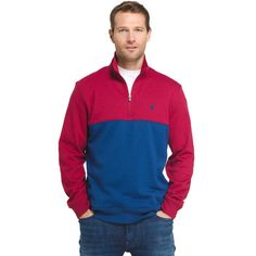Men's IZOD Advantage Sportflex Colorblock Quarter-Zip Fleece Pullover, Size: Medium, Brt Red
