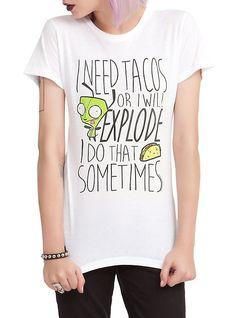 Invader Zim Gir Needs Tacos Girls T-Shirt,