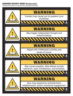 Warning: Banned Books Week Bookmarks For Download | Quirk Books : Publishers & Seekers of All Things Awesome