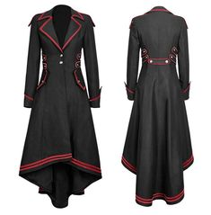 Long Sleeves Red Trimming Long Coat Victorian Coat, Gothic Coat, Gothic Steampunk, Gothic Lolita, Victorian Gothic Fashion, Gothic Girls, Steampunk Coat, Gothic Metal, Victorian Dresses