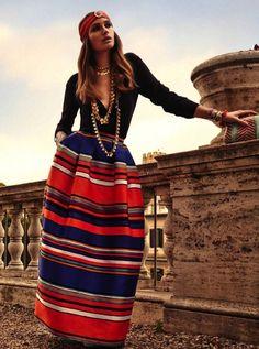 robe hippie chic à rayures