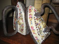 SAD IRON Mosaic Broken China Mosaics Sad Irons Pair by thooker