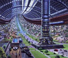 Inside a Stanford Torus Artificial World 1970s by Angus McKie  #StanfordTorus  #ArtificialWorld  #AngusMcKie