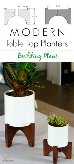 How to build a pair of modern, designer knock-off table top planters.