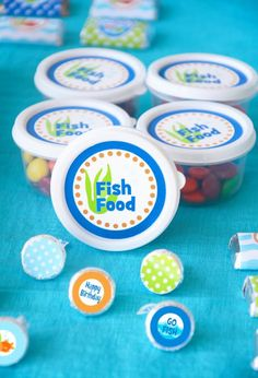 "fish party idea  Colored ones for boys, do another set that says ""Mermaid Food"" with pink and purple m's."