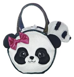 """7"""" PRETTY PANDA PET CARRIER features a dazzling purse and adorable plush animal inside that is removeable."""