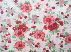 Vintage Cotton Floral Fabric Yardage by LingonberriesAndMoss Floral Fabric, Cotton Fabric, Fabric Remnants, Vintage Fabrics, Vintage Cotton, Daisies, Red Flowers, Pink And Green, Quilts