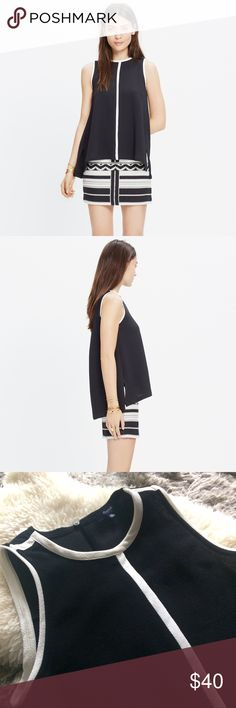 Madewell crepe canal tank top XS final offer Madewell Black and White Tank Top Sleeveless Shirt, never been worn, NWOT, non smoking home  Size: XS  Color: Black with White Stripe  Fabric: Polyester  Brand: Madewell  Bust measurement: 35 inches  Shoulder to Shoulder measurement: 10 inches  Sleeve Length: Sleeveless/Tank Top  Length of Garment: 26.5 inches  Condition: Brand New  Events: Casual, Evening wear, to Work, to School, College, Summer. Wear with Jeans or under Blazer for a casual…
