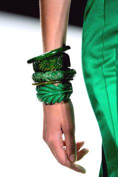 Chunky bangles, love the green!