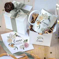 Bridesmaid Mug, Bridesmaid Proposal Gifts, Will You Be My Bridesmaid, Personalized Ceramic Coffee Mugs, Personalized Gifts, Ceramic Flower Pots, Thank You Note Cards, Edible Gifts, Wedding Keepsakes
