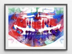 Dental  x-ray watercolor print dental art print teeth anatomy art poster dental panoramic x-ray watercolor painting medical art wall art