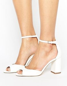 Shop for Gaze White Mid Block Heeled Sandals by Miss KG at ShopStyle. Peep Toe Wedding Shoes, White Wedding Shoes, Peep Toe Heels, Bridal Shoes, White Wedge Sandals, Ankle Wrap Sandals, Shoes Sandals, Strap Sandals, Ankle Strap