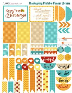50% OFF TODAY Thanksgiving November Bundle Printable 3 Sticker Sheets Planner Orange, Teal. Yellow Fall Colors #Planneraddict #plannerlove #Plannerstickers #Printable