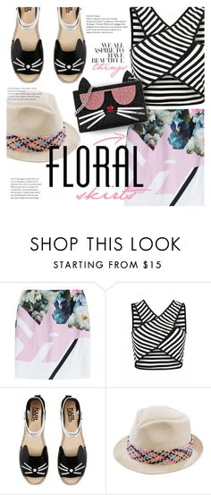 """The Perfect Summer Floral Skirt"" by stacey-lynne ❤ liked on Polyvore featuring Preen, Karl Lagerfeld and San Diego Hat Co."