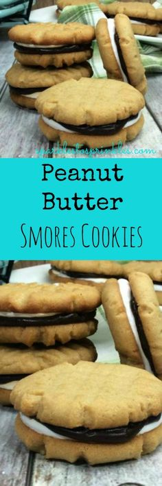 A delicious twist on the all-time favorite campfire treat, S'mores! Soft and creamy peanut butter cookie, a toasted homemade marshmallow fluff and a decadent chocolate ganache that is so delicious it should have a warning label! Pin for Later #smores #cookies #peanutbutter