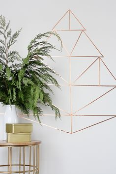 christmas tree in copper directly on the wall