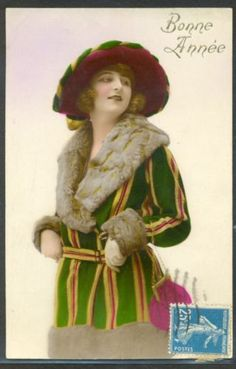 KU131-ART-DECO-FEMME-MODE-CHAPEAU-FASHION-LADY-HAT-FUR-COLLAR-COAT-PHOTO-dART