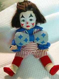 """Clown doll Circus 1979 Faithwick Collection bowtie sleep eyes 15"""" tall toys"""